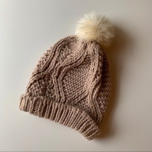 NWOT Old Navy Dusty Pink + Cream Pom Fall Beanie